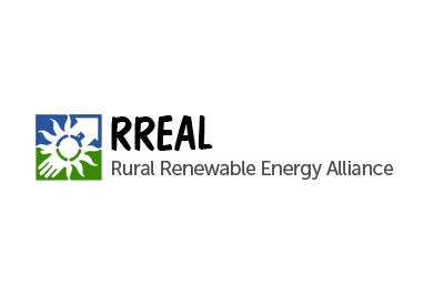 Blue, white and green logo depicting renewable energy symbols and RREAL