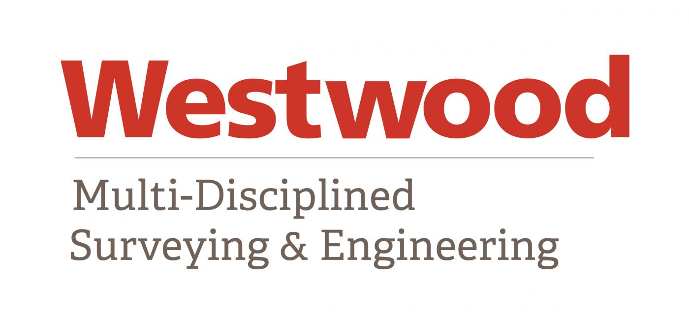 Westwood in bold red font, followed underneath in smaller gray font: multi-disciplined surveying & engineering