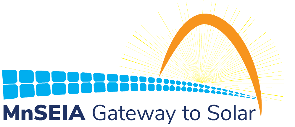Gateway conference logo with orange arch and sunrays, blue solar panel walkway through it