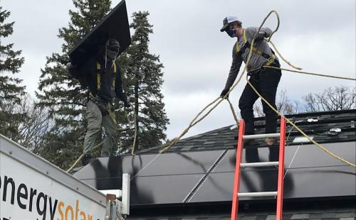 Solar installers put up solar panels in Minnesota All Energy Solar MnSEIA covid19 solar