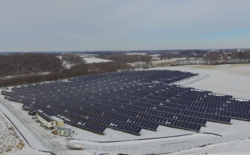 GP JOULE 2.6 MW array aerial view in Waconia, MN