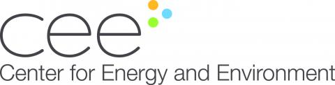 black center for energy and environment with orange green and blue dot logo