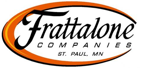 Frattalone Companies logo Orange swirl with black lettering