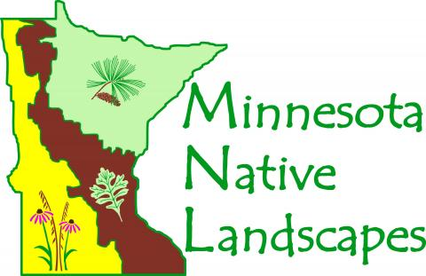 MN Native Landscape logo. State of MN with gold, brown and green