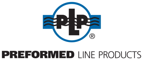 black and blue preformed line products logo