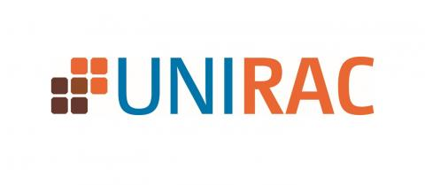 blue and orange UNIRAC logo with orange and brown panels