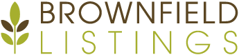 green and brown brownfield listings logo with green leaves