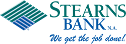 Stearns Bank NA logo green with blue square
