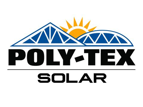 Poly-Tex Solar Logo. Blue panels with yellow sun