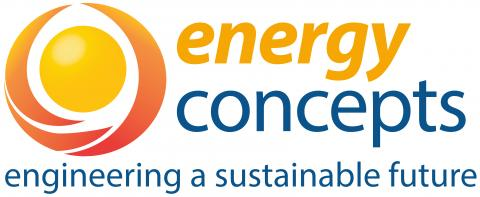 Energy Concepts Logo Orange sun surrounded by, Red and blue letters