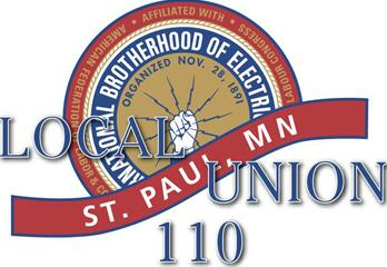 IBEW Local 110 Logo Red Gold & Blue