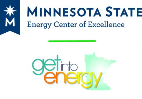 "MN West Community & Tech College Logo ""Get into energy"""
