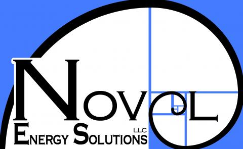 Novel Energy Solutions Logo with blue and black letters and E encircling the name