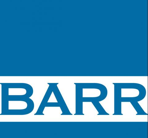 Blue box-shaped logo. White bar at bottom with blue letters B A R R