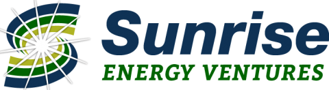 Blue and green circular logo on left. Sunrise in large blue font and Energy Ventures underneath in smaller green font.